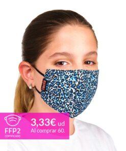 mascarilla coronavirus leopardo azul para niños