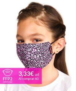 mascarilla coronavirus leopardo rosa para niños
