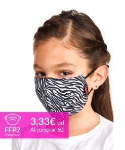 mascarilla coronavirus zebra para niños